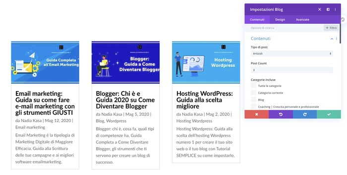 divi builder, blog