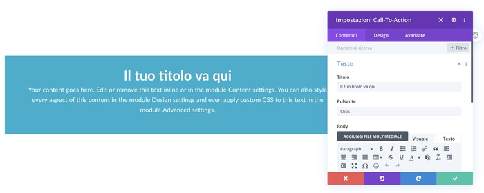 divi builder, call to action