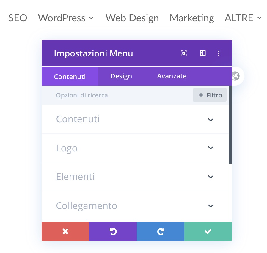 divi builder, menu
