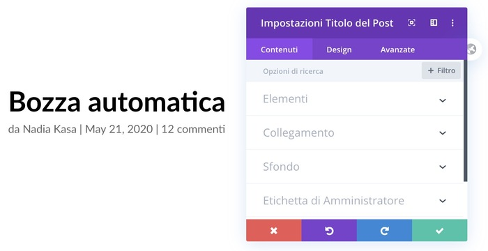divi builder, titolo del post