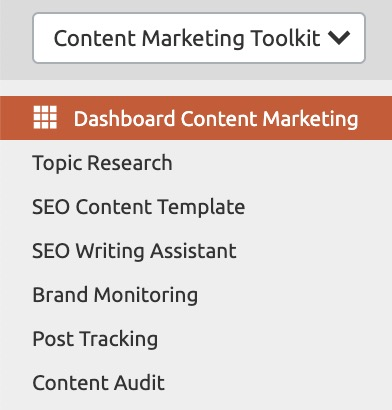 menù content marketing tool kit