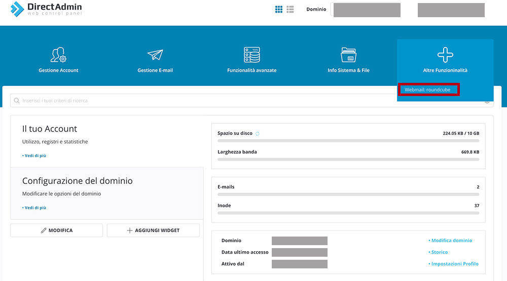 vhosting come accedere all'email