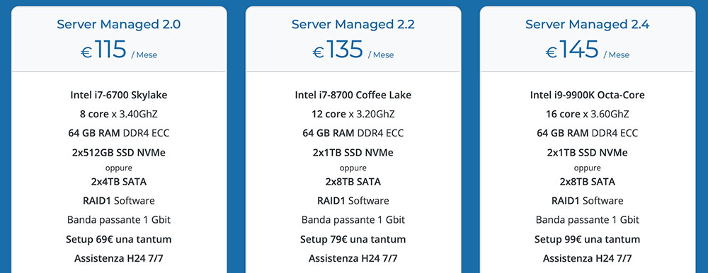 vhosting server dedicati managed low cost