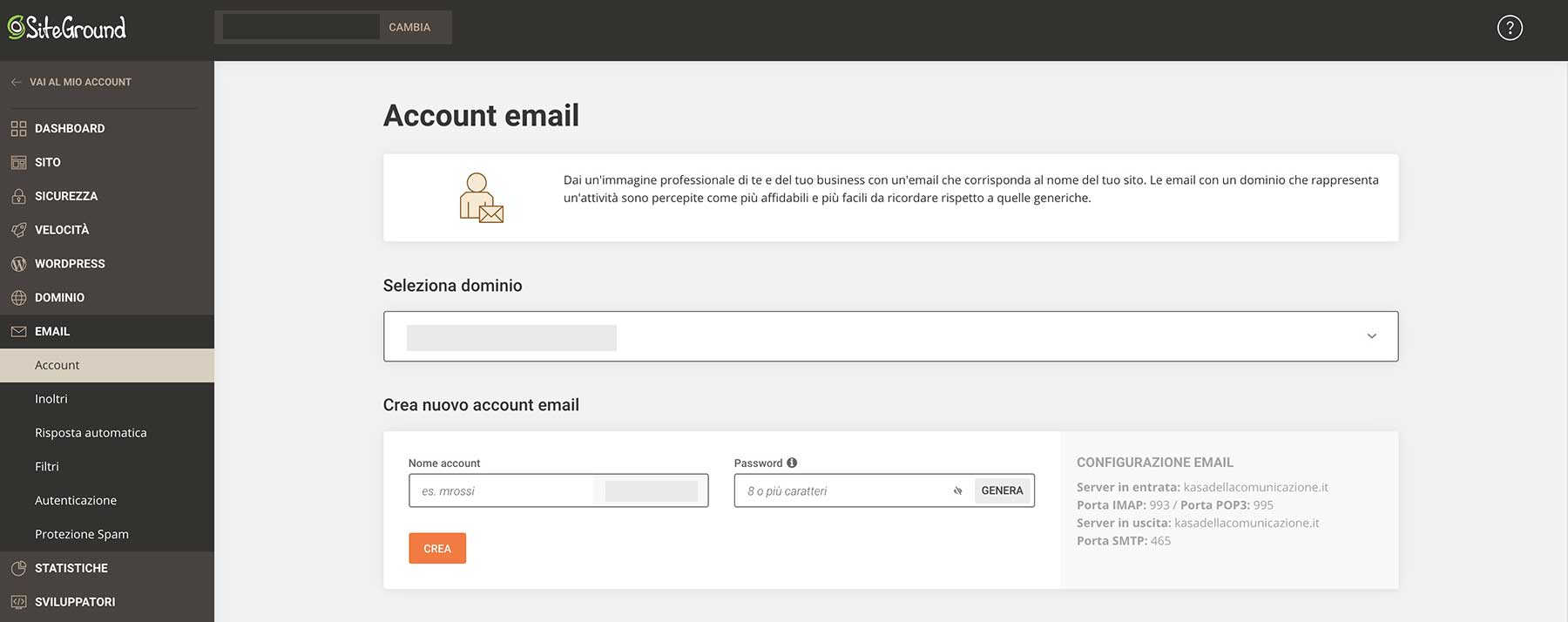 account email site tools