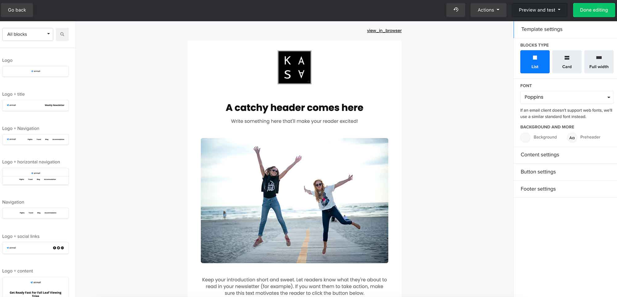 drag and drop email mailerlite